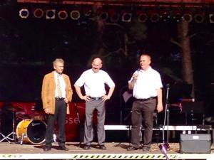 Eröffnung durch den Vorsitzenden Danko Jur mit dem Bürgermeister Friedhelm Boginski (m.) und Vizelandrat Carsten Bockhardt (l.)